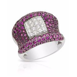 18KT White Gold 2.48ctw Pink Sapphire and Diamond Ring