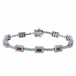 14KT White Gold 2.55ctw Ruby and Diamond Bracelet