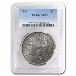 1901 $1 Morgan Silver Dollar Coin PCGS AU55