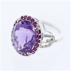 14KT White Gold 9.87ctw Amethyst, Ruby and Diamond Ring