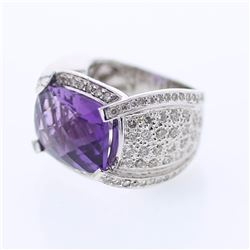 14KT White Gold 9.30ct Amethyst and Diamond Ring