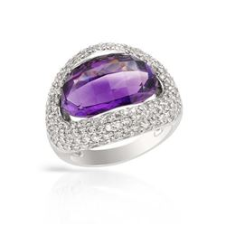 14KT White Gold 6.93ct Amethyst and Diamond Ring