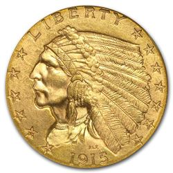 1915 $2 1/2 Indian Head Quarter Eagle Gold Coin NGC MS63