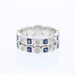 14KT White Gold 0.75ctw Blue Sapphire and Diamond Ring