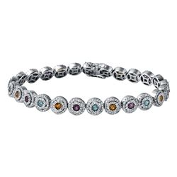 14KT White Gold 2.54ctw Multi Color Gem Stones and Diamond Bracelet