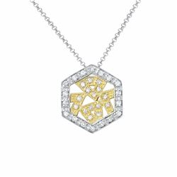 14KT Two Tone Yellow Gold 0.32ctw Diamond Pendant with Chain