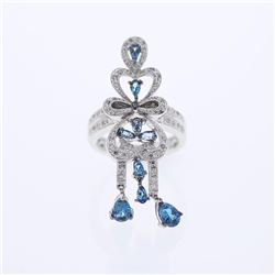 14KT White Gold 1.70ctw Blue Topaz and Diamond Ring