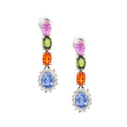 14KT White Gold 5.64ctw Multi Color Sapphire and Diamond Earrings