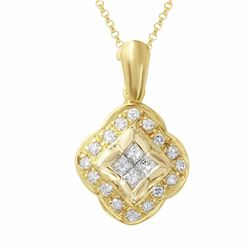 18KT Yellow Gold 0.62ctw Diamond Pendant with Chain