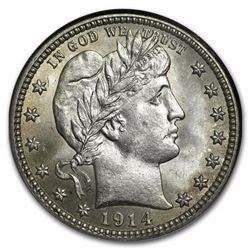 1914 Barber Quarter Coin NGC MS64