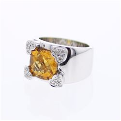 14KT White Gold 3.66ct Citrine and Diamond Ring