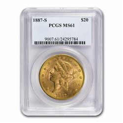 1887-S $20 Liberty Head Double Eagle Gold Coin PCGS MS61