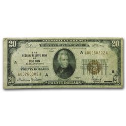 1929 $20 Boston Brown Seal Federal Reserve Bank Note