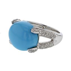 14KT White Gold 11.29ct Turquoise and Diamond Ring