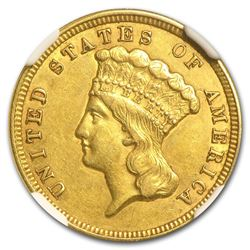 1856 $3 Princess Gold Coin NGC AU55
