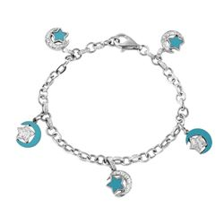14KT White Gold 1.29ctw Turquoise and Diamond Bracelet