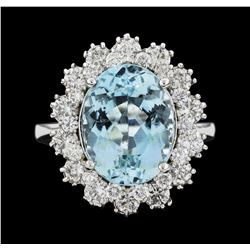 14KT White Gold 6.86ct Aquamarine and Diamond Ring
