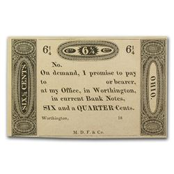 1800's Worthington Ohio 6 1/4 Cents Note