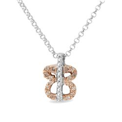 14KT Two Tone Gold 0.12ctw Diamond Pendant with Chain