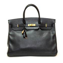 Hermes Birkin 40cm Black Ardenne Leather Bag with Gold Hardware
