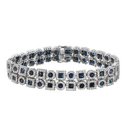 14KT White Gold 10.42ctw Blue Sapphire and Diamond Bracelet