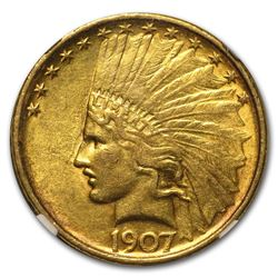 1907 $10 Indian Head Eagle Gold Coin NGC AU53