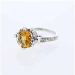 14KT White Gold 3.02ct Citrine and Diamond Ring