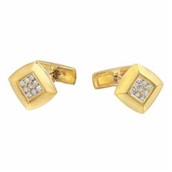18KT Yellow Gold 0.48ctw Diamond Cuff Links