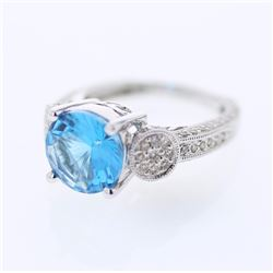 18KT White Gold 4.13ct Blue Topaz and Diamond Ring