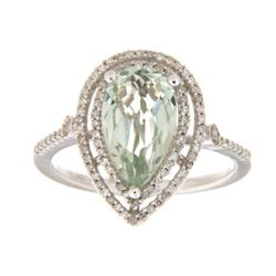 14KT White Gold 2.28ct Green Amethyst and Diamond Ring