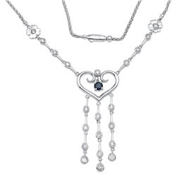 14KT White Gold Blue Sapphire and Diamond Necklace