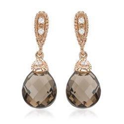 14KT Rose Gold 4.69ctw Smokey Topaz and Diamond Earrings