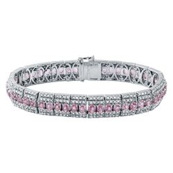 14KT White Gold 11.41ctw Pink Sapphire and Diamond Bracelet