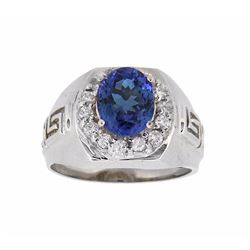 14KT White Gold 2.58ct Tanzanite and Diamond Ring