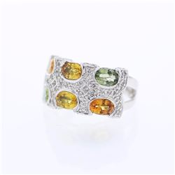 14KT White Gold 3.95ctw Multi Color Sapphire and Diamond Ring