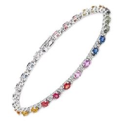 14KT White Gold 6.66ctw Multi Color Sapphire and Diamond Bracelet