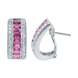 18KT White Gold 2.64ctw Pink Sapphire and Diamond Earrings