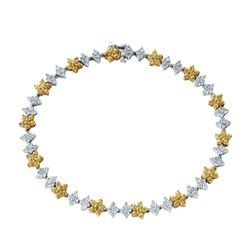 14KT Two Tone Gold 1.94ctw Yellow Sapphire and Diamond Bracelet
