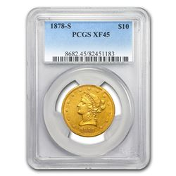 1878-S $10 Liberty Head Eagle Gold Coin PCGS XF45