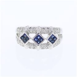 14KT White Gold 0.37ctw Blue Sapphire and Diamond Ring