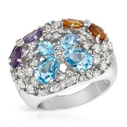 14KT White Gold 4.13ctw Amethyst, Citrine, Topaz and Diamond Ring