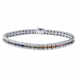 14KT White Gold 3.81ctw Multi Color Sapphire and Diamond Bracelet