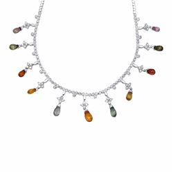 18KT White Gold 6.64ctw Multi Color Sapphire and Diamond Necklace