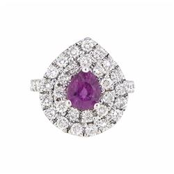 14KT White Gold 1.80ct Pink Sapphire and Diamond Ring
