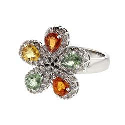 18KT White Gold 2.33ctw Multi Sapphire and Diamond Ring