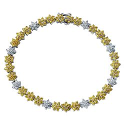 14KT White Gold 5.13ctw Yellow Sapphire and Diamond Bracelet