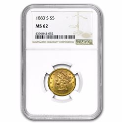 1883-S $5 Liberty Head Half Eagle Gold Coin NGC MS62