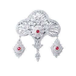 18KT White Gold Ruby and Diamond Brooch