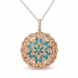 14KT Rose Gold 5.40ctw Turquoise and Diamond Pendant with Chain