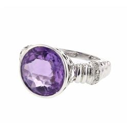 14KT White Gold 8.26ct Amethyst and Diamond Ring